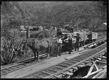 Image: Horse-drawn wagon carrying sawn timber, on the railway track of the Piha to Karekare tramway.