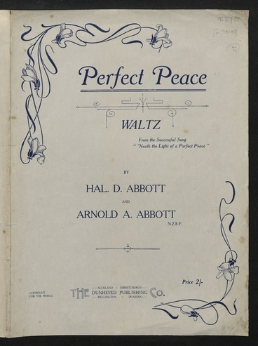 Image: Perfect peace : waltz / by Hal. D. Abbott and Arnold A. Abbott.