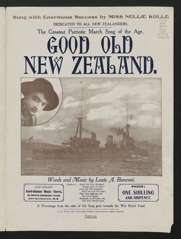 Image: Good old New Zealand / words and music by Louis A. Benzoni ; arr. by Ivan M. Levy.