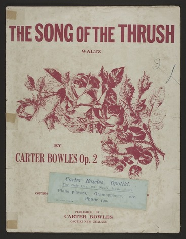 Image: The song of the thrush : waltz, op. 2 / Carter Bowles.