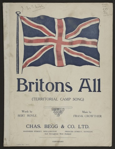 Image: Britons all : territorial camp song / words by Bert Royle ; music by Frank Crowther.