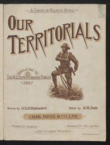 Image: Our Territorials : a chorus march song, dedicated to the Expeditionary Forces, 1914 / music by A.R. Don ; words by H.S.B. Ribbands.