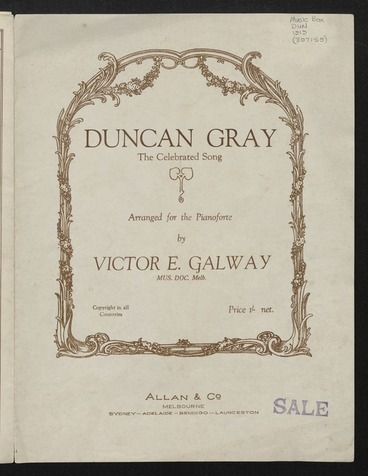 Image: Duncan Gray : the celebrated song / arranged for the pianoforte by Victor E. Galway.