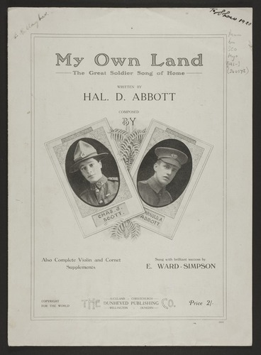Image: My own land : the great soldier song of home / written by Hal. D. Abbott ; composed by Chas. J. Scott, Arnold A. Abbott.