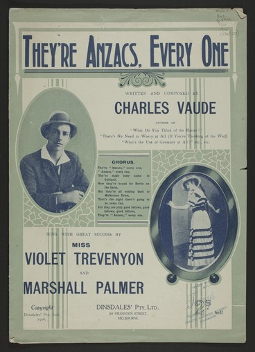 Image: They're Anzacs, every one / written and composed by Chas. Vaude.