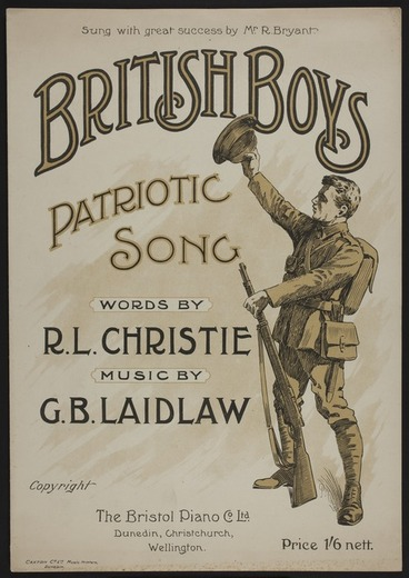 Image: British boys : patriotic song / words by R.L Christie ; music by G.B. Laidlaw.