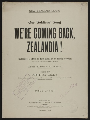 Image: We're coming back, Zealandia! / words by F.C. Jenkin ; music by Arthur Lilly.