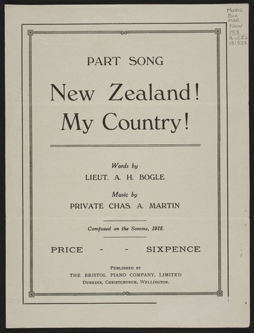 Image: New Zealand! : my country! / words by A.H. Bogle ; music by Chas. A. Martin.