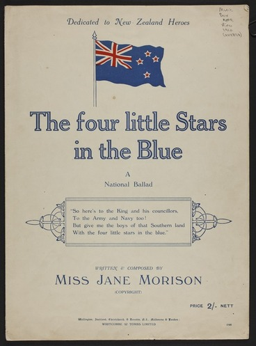 Image: The four little stars in the blue : a national ballad / written & composed by Miss Jane Morison.