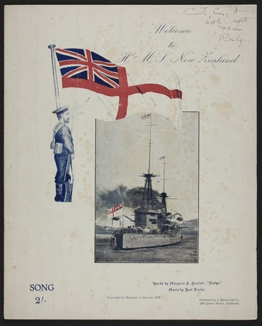 """Image: Welcome to H.M.S. New Zealand : song / words by Margaret A. Sinclair, """"Roslyn"""" ; music by Bert Rache."""