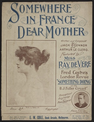 Image: Somewhere in France, dear mother / written and composed by Jack O'Connor & Arthur Le Clerq.