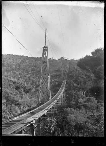 Image: Piha Tramway, a private railway line. View near the top of the central hill section of the incline, between Piha and Karekare.
