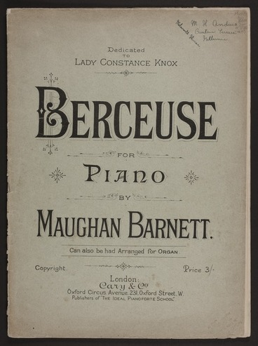 Image: Berceuse for piano / by Maughan Barnett.