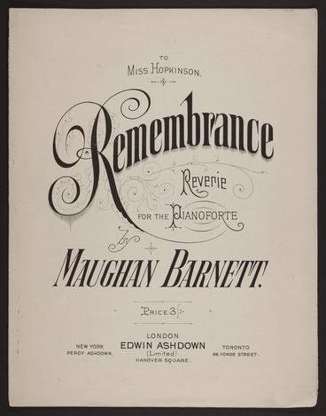 Image: Remembrance : reverie for the pianoforte / by Maughan Barnett.