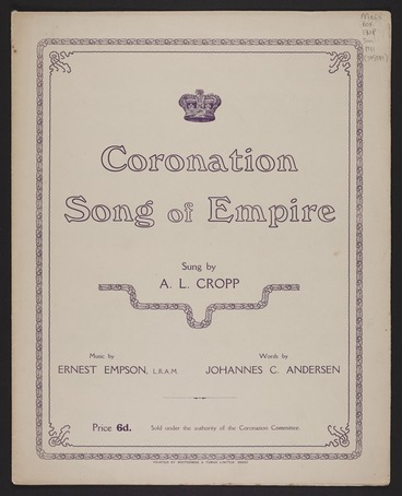 Image: Song of Empire / music by Ernest Empson ; words by Johannes C. Andersen.