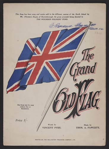 Image: The grand old flag / words by Vincent Pyke ; music by Thos. A. Fawcett.