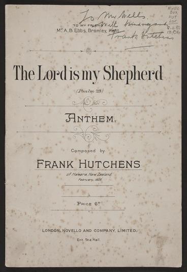 Image: The Lord is my shepherd : Psalm XXIII / Frank Hutchens.