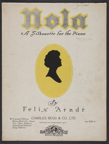 Image: Nola : a silhouette for the piano / by Felix Arndt.