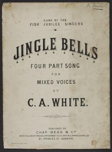 Image: Jingle bells : four part song for mixed voices / by C.A. White.