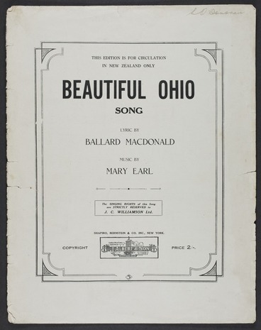 Image: Beautiful Ohio : song : adapted from the waltz of the same name / lyric by Ballard MacDonald ; music by Mary Earl.