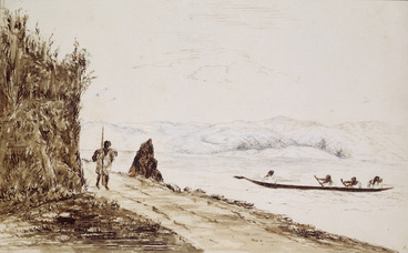 Image: Pearse, John, 1808-1882 :Hutt Road - Wellington Harbour - Somes Island from entrance to Braithwait's clearing, Nga Hauranga. [Between 1852 and 1856]