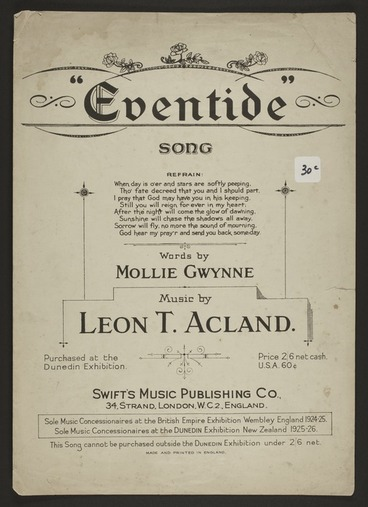 Image: Eventide : song / words by Mollie Gwynne ; music by Leon T. Acland.