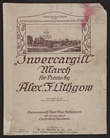 Image: Invercargill march : for piano / by Alex F. Lithgow.