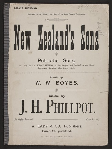 Image: New Zealand's sons : patriotic song / words by W.W. Boyes ; music by J.H. Phillpot.