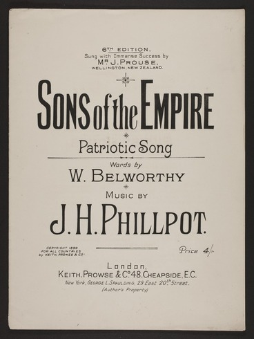 Image: Sons of the Empire : patriotic song / words by W. Belworthy ; composed by J.H. Phillpot.