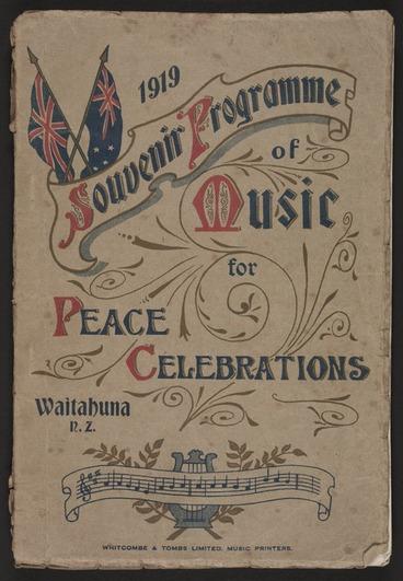 Image: 1919 souvenir programme of music for peace celebrations, Waitahuna, N.Z.