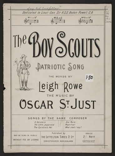 Image: The Boy Scouts : patriotic song / the words by Leigh Rowe ; the music by Oscar St. Just.