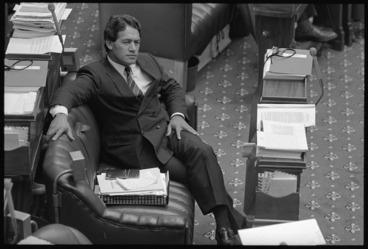 Image: Winston Peters in his seat in the House of Representatives, Parliament Buildings, Wellington - Photograph taken by John Nicholson