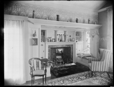 Image: Fireplace area inside the house Matitiki at Opawa, Christchurch, designed by Clarkson and Ballantyne for Robert Malcolm