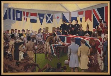 Image: King, Marcus, 1891-1983 :[The signing of the Treaty of Waitangi, February 6th, 1840]. 1938.