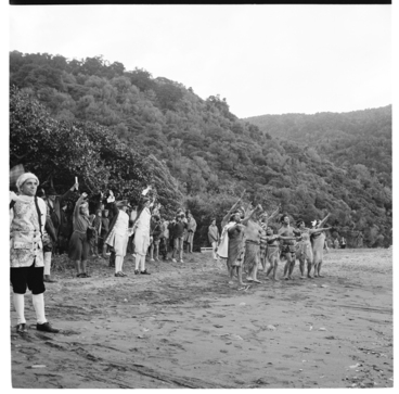 Image: Re-enactment of the landing of Captain Cook, during the visit of Queen Elizabeth II; HMY Britannia in the Marlborough Sounds
