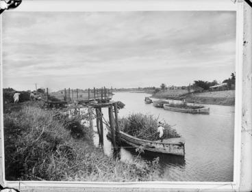 Image: Barges transporting sugar cane, Rewa River, Nausori, Fiji
