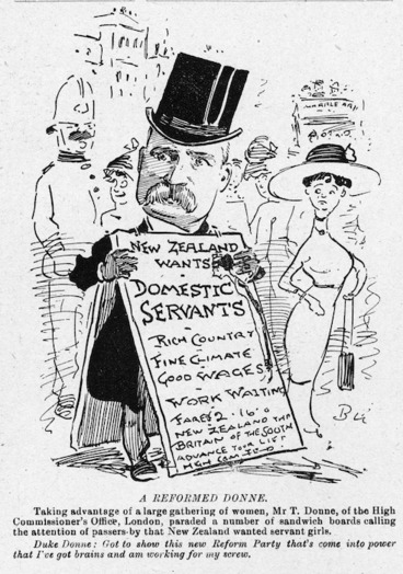 Image: Blomfield, William, 1866-1938 :A Reformed Donne. New Zealand Observer, 12 August 1912.