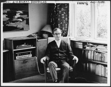 Image: Beavis, Cyril Denis Archibald, 1911-2000 : Photograph of Douglas Lilburn at home