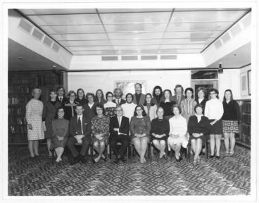 Image: Staff of Alexander Turnbull Library at the farewell to Chief Librarian A G Bagnall