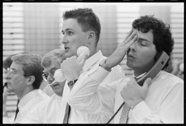 Image: Stuart Beadle and Grant Taylor, sharemarket operators, Wellington - Photograph taken by Ross Giblin
