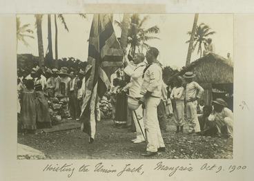 Image: Hoisting the Union Jack at the annexation of Mangaia - Photograph taken by Malcolm Ross.