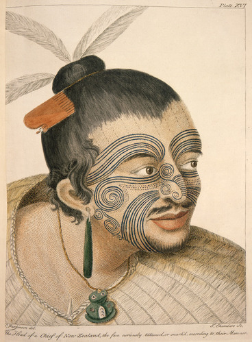 Image: Parkinson, Sydney, 1745-1771 :The head of a chief of New Zealand, the face curiously tataow'd, or marked according to their manner. S. Parkinson del. T. Chambers sc. London, 1784. Plate XVI.