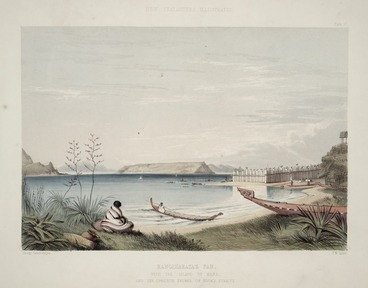 Image: Angas, George French 1822-1886 :Rangihaeata's pah with the island of Mana and the opposite shores of Cook's Straits / George French Angas [delt]; J. W. Giles [lith]. Plate 57, 1847.