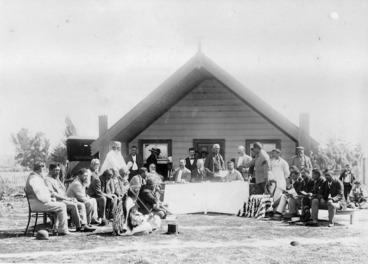 Image: Ngati Kahungunu tribe signing over ownership of Lake Wairarapa to the Crown