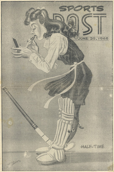 Image: Colvin, Neville Maurice, 1918-1992 :Half-time. Sports Post cover, 29 June 1946.