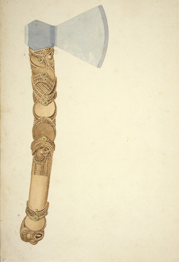 Image: [Brees, Samuel Charles] 1810-1865 :[Study of carved axe handle. Between 1842 and 1845]