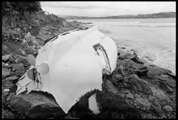 Image: Beached lifeboat from the Wahine, Eastbourne