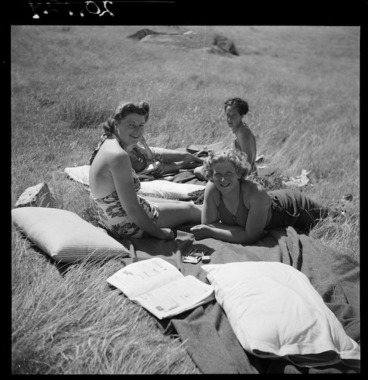 Image: Women's Army Auxiliary Corps members sunbathing while off duty, Godley Head, Lyttelton, Christchurch