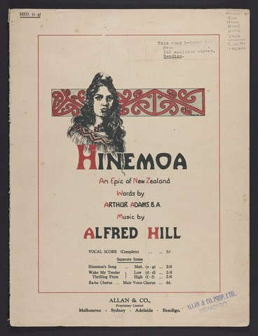 Image: Hinemoa's song : from Hinemoa / words by Arthur Adams ; music by Alfred Hill.