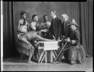 Image: Tableau, re-enacting the signing of the Treaty of Waitangi, at the East and West Missionary Exhibition, Wellington Town Hall